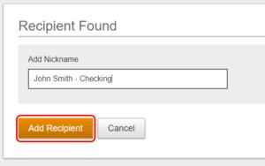 Add recipient button example.