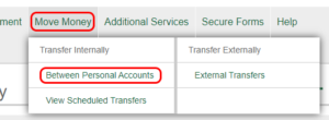 Move money between personal accounts button example.