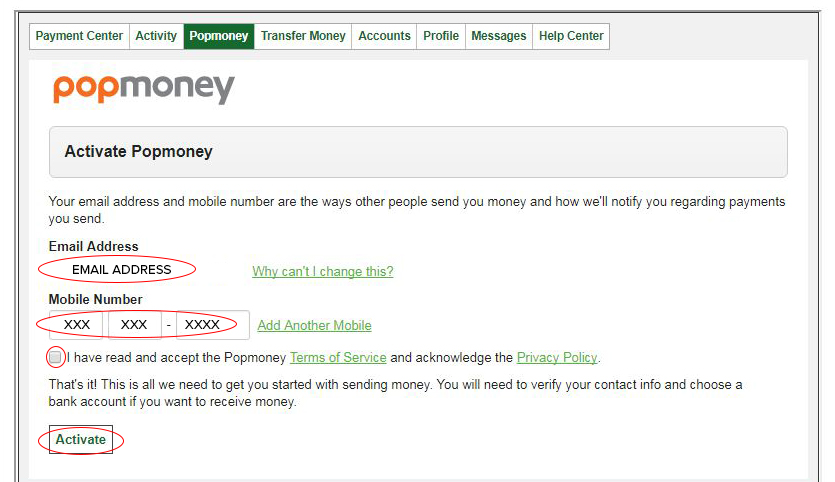 Activate Popmoney You Will Need To Verify Information
