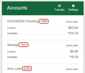 Last four digits of account number example.